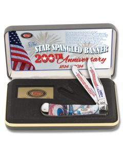 "Case Star Spangled Banner 200th Anniversary Trapper 4.125"" with Red White and Blue Corelon Handles and Tru-Sharp Surgical Steel Plain Edge Blades Model CAT-SSB/STAR"
