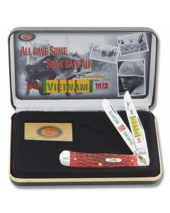 "Case Vietnam Vet Trapper 4.125"" with Red Jigged Bone Handles and Tru-Sharp Surgical Steel Plain Edge Blades Model CATVIET"