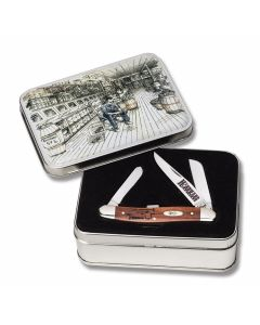 "Case Hardware Heritage Medium Stockman 3.625"" with Chestnut Smooth Bone Handles and Tru-Sharp Surgical Steel Plain Edge Blades Model WTC18HH"