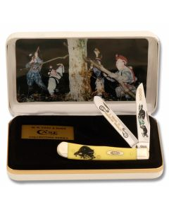 "Case Limited Edition Coon Hunt Trapper 4.125"" with Yellow Composition Handles and Tru-Sharp Surgical Steel Plain Edge Blades Model Y-COON"