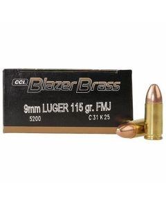 CCI Blazer Brass 9mm 115 Grain Full Metal Jacket Round Nose 50 Rounds