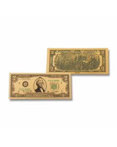 24K Gold 2 Dollar Foil Bill