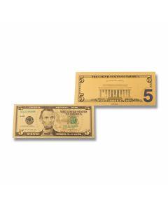 24K Gold 5 Dollar Foil Bill