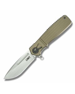 "CRKT Ken Onion Homefront with 6061 Aluminum Handles and Brushed AUS-8 Stainless Steel 3.50"" Modified Drop Point Plain Edge Blade Model K270GKP"