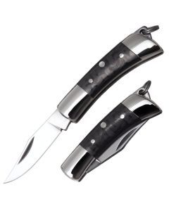 """Cold Steel Charm Pocket Knife 1.625"""" with Polished Black Micarta Handle and Satin Finish CPM-S35VN Stainless Steel Clip Point Blade Model 54VPL"""