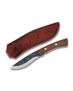 """Condor Tool and Knife Huron Fixed Blade with Walnut Handles and Natural Finished 1095 High Carbon Steel 4.24"""" Drop Point Plain Edge Blades Model 62708/CTK2806-4.25"""