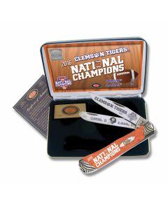 "Case Clemson Tigers 2016 National Champions Trapper 4.125"" with Orange Corelon Handles and Tru-Sharp Surgical Steel Plain Edge Blades Model CU16-CATCU/O"
