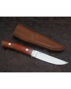 George Herron custom Hunter knife 4.439 inch blade with pink ivory wood handles serial number 2066 stainless steel plain blade edge