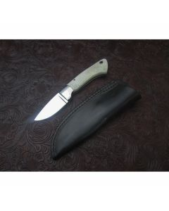 Daniel Arvel custom mini hunter knife 2.375 inch blade with white smooth bone handles stainless steel plain blade edge