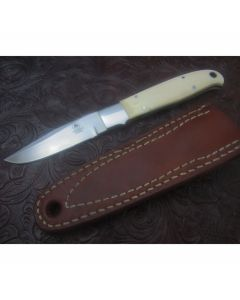 Tom Mayo custom Boot knife 3.25 inch blade Walrus Ivory handles stainless steel plain blade edge