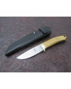 Tom Mayo custom trail point hunter knife 3.439 inch blade with exotic wood handles stainless steel plain blade edge