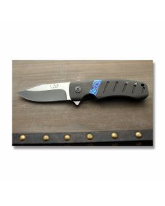 Chad Nell custom Templar flipper pocket knife 3.25 inch with titanium handles Moku-Ti inlay CPM-154CM stainless steel blade plain blade edge