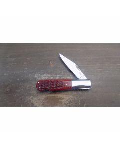 Robert Enders custom lock back knife 2.875 inch with red jigged bone handles ATS 34 stainless steel blade plain blade edge