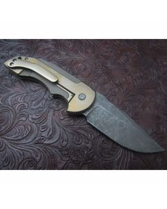 David Mosier custom bronze Crossfire knife 3.375 inch blade with titanium handles with CPM-154 stainless steel blade plain blade edge