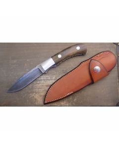 S.R Johnson custom hunter knife 4 inch blade with mammoth ivory handles and custom file work Damascus steel plain blade edge