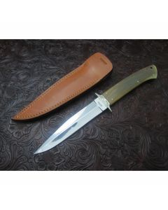 Harold Corby custom fighter 5.125 inch blade with horn handles high polished blade plain blade edge