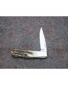 Jess Horn custom FBK lock back mint condition 3.125 inch blade with beautiful stag handles ATS-34 stainless steel plain blade edge