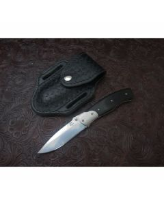Don Lozier custom liner lock pocket knife 3.439 inch with black micarta handles stainless steel blade plain blade edge