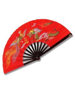 Master Cutlery Metal Frame Kung Fu Fighting Fan with Red Dragon and Phoenix Design Model 2504