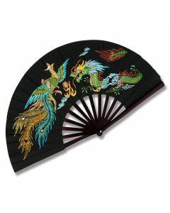 Master Cutlery Metal Frame Kung Fu Phoenix & Dragon with Black Finish Fighting Fan Model 2504B