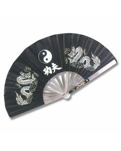 Master Cutlery Metal Frame Kung Fu Black Finish Yin Yang Dragons Fighting Fan Model 2510-B
