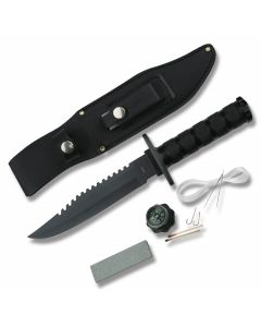 """Master Cuterly Survival Knife with Black Finish Stainless Steel Handles and Black Coated Stainless Steel 6"""" Clip Point Plain Edge Blades Model CK-086B"""