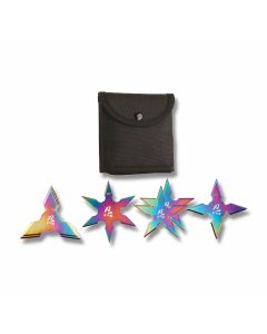 "Master Cutlery 4 piece 4"" Rainbow Throwing Stars Model FM-431-4LR"