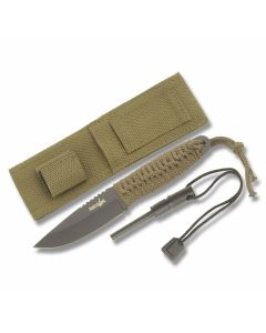 """Master Cutlery Survival Knife with Cord Wapped Handles and Black Coated Stainless Steel 4"""" Drop Point Plain Edge Blades Model HK-106C"""