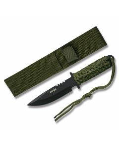 """Master Cutlery Military Fixed Blade with Green Cord Wrapped Handles and Black Coated Stainless Steel 3.50"""" Drop Point Plain Edge Blades Model HK-7525"""