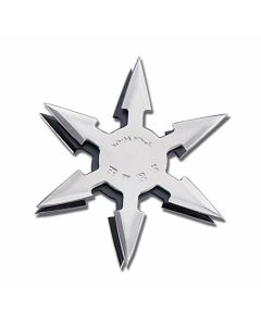 "Master Cutlery 4"" Diameter 6 Point Throwing Star with Silver Stainless Steel Construction Model JL-SS3"