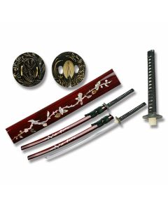 Master Cutlery Hand Forged Carbon Steel Katana with Mother of Pearl Sakura Blossom Scabbard Inlay