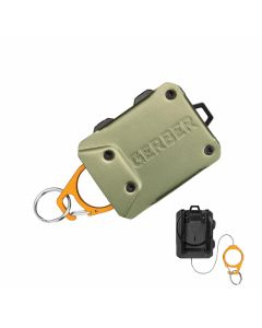 Gerber Defender Large Tether with Gray Anodized Aluminum Construction and Orange Anodized Aluminum Carabiner Model 31-003299