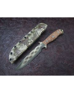 Dawson Knife Company Raider 6 5160 Steel Sand Viper Cerakote Finish Tan Micarta Handles