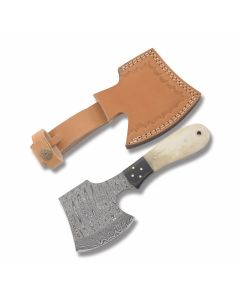 Smooth Natural Bone Handle Damascus Mini Hatchet