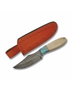 "Szco Skinner with Turquoise and Natural Bone Handles and Damascus Steel 4"" Clip Point Plain Edge Blades"