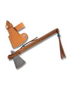 Battle Axe with Carved Wood Handles and Damascus Steel Axe Head Model DM-5015