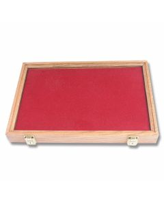 "Solid Oak Display Case with Tyrol Red Velvet Insert ( 18"" x 12"" x 2"")"