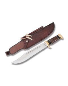 "Down Under Knives Outback ""Down Under Bowie"" with Leather Handle and 440C Stainless Steel 11"" Clip Point Plain Edge Blade Model DUKCD"