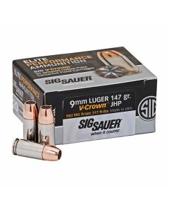 Sig Sauer Elite Performance 9mm Luger 147 Grain V-crown Jacketed Hollow Point 20 Rounds