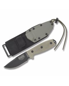 "ESEE Knives ESEE-3P Tan Micarta Handle with Black Coated 1095 Carbon Steel 3.88"" Clip Point Plain Edge Blade and Glass Breaker Pommel with  OD Green MOLLE Back Molded Sheath Model ESEE-3MIL-P-CP"