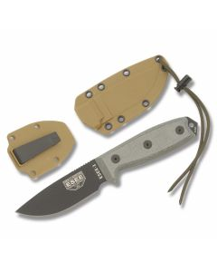 "ESEE Knives ESEE-3 OD Green Micarta Handle with Black Coated 1095 Carbon Steel 3.88"" Drop Point Plain Edge Blade and Brown Molded Sheath Model ESEE-3P"