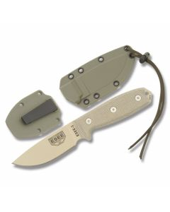 "ESEE Knives ESEE-3 Tan Micarta Handle with Tan Coated 1095 Carbon Steel 3.88"" Drop Point Plain Edge Blade and OD Green Molded Sheath Model ESEE-3P-DT"