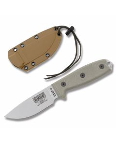 "Esee Knives ESEE-3 Tan Micarta Handles with Un-coated 1095 Carbon Steel 3.50"" Drop Point Plain blade with Desert Tan Molded Plastic Sheath Model ESEE-3U"