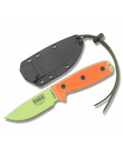 "ESEE Knives ESEE-3P Orange G-10 Handle with Venom Green Coated 1095 Carbon Steel 3.88"" Drop Point Plain Edge Blade and Black Molded Sheath Model ESEE-3PM-VG"