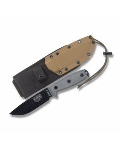 """ESEE Knives ESEE-4 Black Micarta Handle with Black Coated 1095 Carbon Steel 4.50"""" Drop Point Plain Edge Blade and Brown MOLLE Back Molded Sheath Model ESEE-4P-MB"""