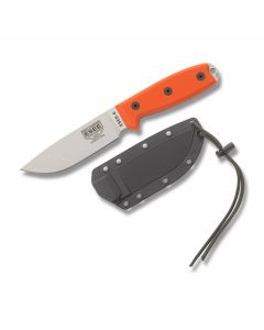 "ESEE Knives ESEE-4 with Orange G-10 Handles and Uncoated 440C Stainless Steel 4.625"" Drop Point Plain Edge Blade with Black Molded Plastic Sheath and MOLLE Attachment Model ESEE-4P-MB-SS-OR"