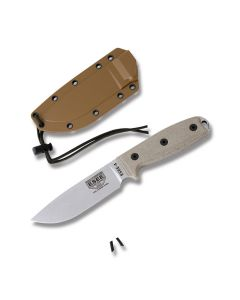 """ESEE Knives ESEE-4 with OD Green Micarta Handles and 1095 Carbon Steel 4.50"""" Drop Point Plain Edge Blade and Black Molded Sheath with MOLLE Back  Model ESEE-4P-UC-MB"""