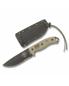 "ESEE Knives ESEE-5 Tan Micarta Handle with Black Coated 1095 Carbon Steel 5.25"" Drop Point Partly Serrated Edge Blade and Black Kydex Sheath Model ESEE-5S"