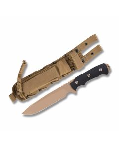 "Rick Hinderer Knives Fieldtac Fixed Blade with DLC FDE S35VN Steel 6"" Clip Point Plain Edge Blades and SpecOps Combat Master Sheath"