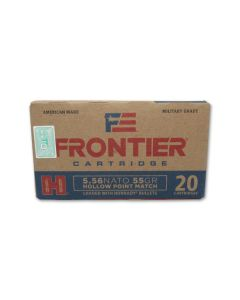 Hornady Frontier Cartridge 5.56x45MM NATO 55 Grain Jacketed Hollow Point 20 Rounds